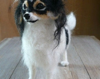 Needle-felted dog's Miniature/ Needle felted Papillon/OOAK ture Sculpture of your dog