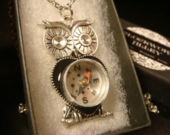 Owl Compass Pendant Necklace- Real Working Compass (2189)