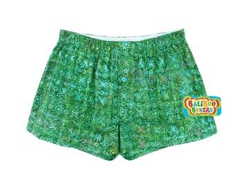 Womens Sleep Shorts, Green Cotton Sleepshorts, Gift Boxers Cotton Batik, Boxer Shorts, Womens Shorts
