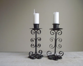 Vintage Scroll Work Candlestick Holders , Pair of Black Metal Candle Holders , Decorative Candlesticks