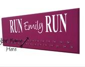Personalized running medal holder, custom medal hanger, Your name on your running medal display rack, personalized sign, personalized gift