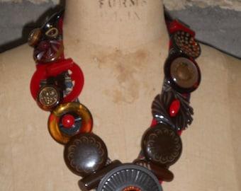 Vintage BAKELITE  Buttons & Buckle Necklace - OOAK, Unique, Repurpose, Upcycle