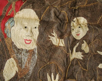 Rare Antique 19C Chinese Asian Embroidered Wall Hanging Asian 9' x 5' Rare Fu Lu Shou Three Lucky Immortals 三星