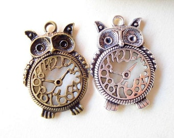 2 large Clock Owl Antiqued Silver Tone Charms Pendant 48mm B452