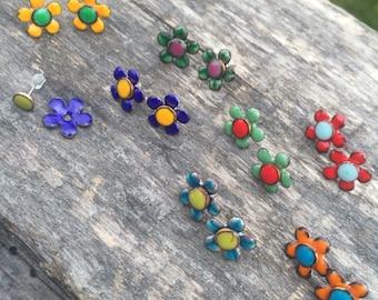 Tiny Flower kiln fired enamel earrings