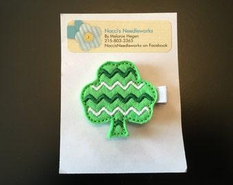 Felt Hair Clip- Embroidered Chevron Shamrock Hair Clip