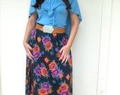 Vintage 1980s RAYON CLUB black floral and aztec midi / maxi skirt w/ elastic waist, size Large / XL