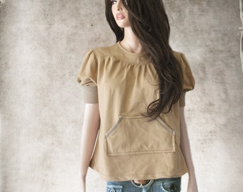 French terry top/Brown short sleeve/Yoke crew neck
