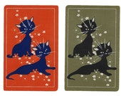 COOL CATS (2) Vintage Single Swap Playing Cards Paper Ephemera Scrapbook