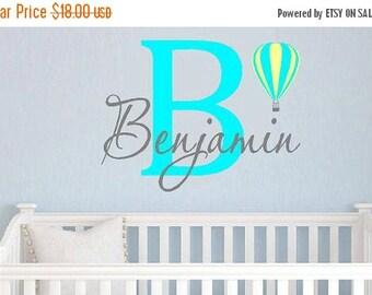 15% OFF Childrens Monogram Name   boys- girls- Hot air balloon- bedroom baby nurseryVinyl Lettering wall words Home decor itswritteninvinyl