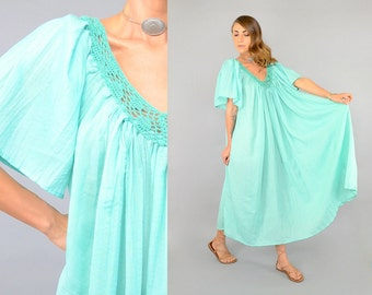 70's Crochet + Cotton Tent Dress