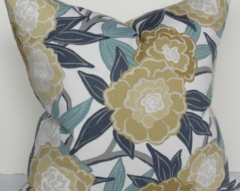 Floral Peony aqua teal gold yellow decorative designer throw pillow cover Peony Lumbar flowers leaves vine square Both Sides Robert Allen