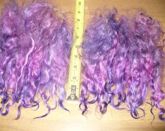 Purple Doll Hair Long Lincoln Locks Curls Fiber Spinning Felting 1 ounce ea