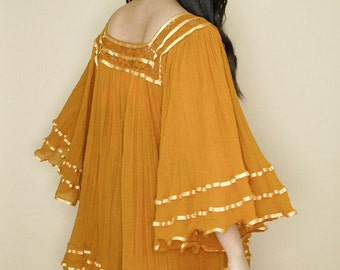 Vintage 70s Mustard Mexican Peasant Gauze ANGEL Bell Sleeve Tunic Dress/One Size