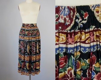 1980s Vintage Black Floral Asian Print Rayon Crinkle Long Skirt (S, M)