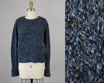1990s Vintage Navy Marled Knit Cropped Sweater (L)