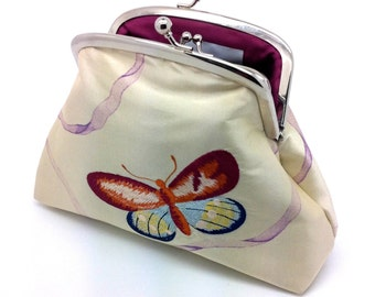 Butterfly Kiss Lock Clutch Coin Purse Wallet Silver Double Frame Gift for Women Embroidery Silk Ribbon