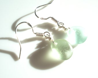 Seaham Sea Glass hook earrings of seafoam green drops suspended from Sterling Silver hooks - E1589 - from Seaham,  UK
