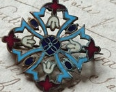 Sweet antique French enamelled brooch c1900 - ATTIC FIND Belle brocante