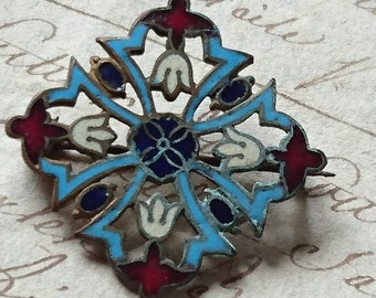 Sweet antique French enamelled brooch c1900 - ATTIC FIND Belle brocante