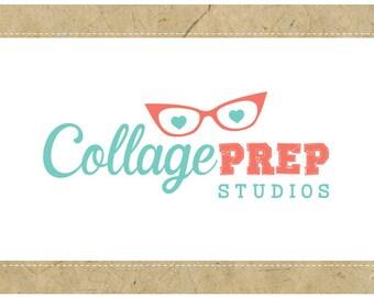 Custom Logo Design - PreMade Logo - OOAK Logo - COLLAGE PREP Logo Design - Glasses Logo - Cat Eye Glasses Logo - Vintage Logo - Geek Logo