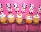 Baby Minnie Mouse Cupcake Toppers - Set of 12