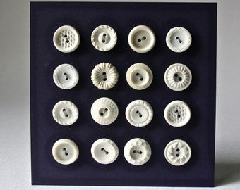 Vintage White Round Buttons in Assorted Designs for Sewing and Crafts.