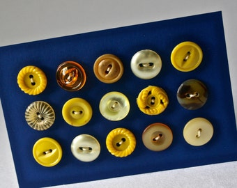 Vintage Yellow and Amber Buttons for Sewing and Crafting