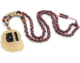 Fashion Style Tibetan Buddhist 108 6mm x 6mm Violet Wood Prayer Beads Mala  N108-SM002