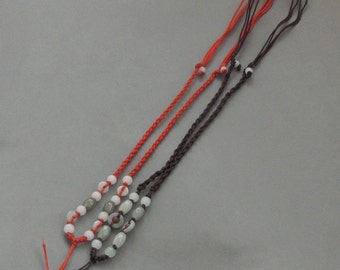 2Pieces Red And Brown Silk Cord Beads For Pendant--Length In 300mm  ja626