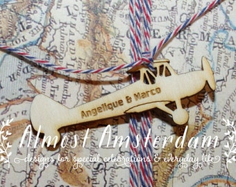 ENGRAVED Wooden Airplane (Aeroplane) Biplane Charms for Boarding Pass or Passport Invitations - Please Select the Quantity You Require