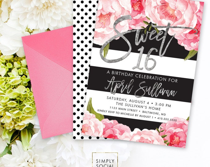 Floral Sweet Sixteen Invitation - Floral Peony Blush Faux Silver Foil Black Stripes Polka Dots Flowers Pink 16th Birthday Printable