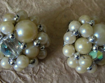 1950s-60s Ivory Pearl and AB Bead Clip Earrings