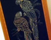 Vintage Velvet Painting Parrots in Wood Frame with Glass, Black Velvet, Gold Accents