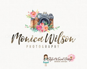 camera logo design photography logo watercolor logo photographers logo watermark logo premade logo design watercolour peony logo design