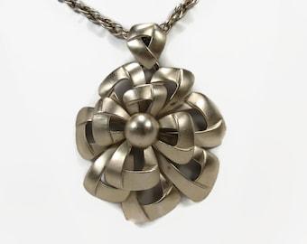 Trifari Necklace, Silver Tone, Vintage Necklace, Statement Necklace, Brushed Silver Tone, Pendant Necklace, 1970s Jewelry, Trifari Jewelry
