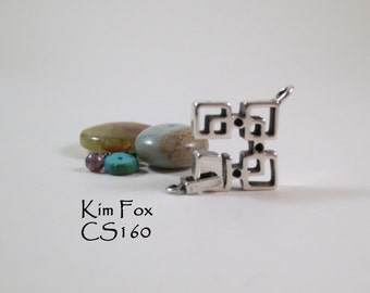 Rectangular Slot Clasp in Oriental Style in Sterling Silver by Kim Fox suitable for bracelet or necklace