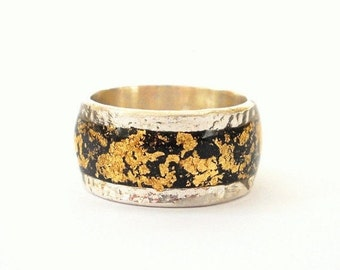 Spring sale Black gold ring Sterling silver ring inlaid with gold foil finished with resin black silver ring black gold ring, men ring, silv