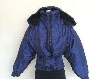 60% OFF Vintage 1980s Hooded Hot Voltage Navy Ski Snow Jacket S (e)