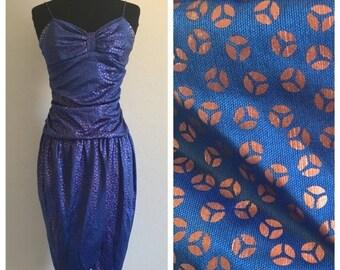 70% OFF CLOSING SALE Vintage 1970s 1980s Dq Fashions Blue Purple Cocktail Party Dress S (L)