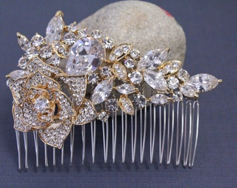 Wedding hair comb gold Bridal hair comb Crystal hair comb gold Wedding hair accessories Bridal hair piece Wedding accessories Wedding comb