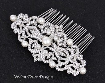 Bridal Hair Comb PEARL Wedding Hair Piece Rhinestone Wedding Jewelry Prom Pageant