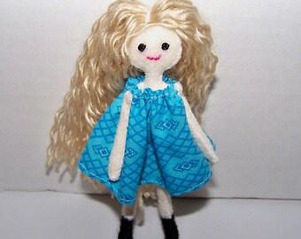 Tiny Felt Pocket Doll - felt doll, cloth doll, hand-made doll, hand-sewn doll, miniature doll, tiny doll, little doll, dollhouse doll