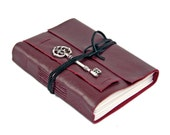 Brugundy Leather Journal - Leather Journal - Lined Journal - Wine Journal - Cameo - Wedding Journal - Art Journal - Diary - Ready to Ship -