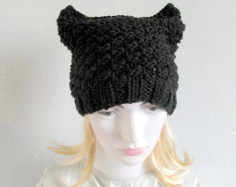 Animals Hat Cat Hat Knit Hat Cat Hat Cat Beanie Hat Black Ladies Beanie Hat for Women Hand Knitted Women Knit Hat Hand Knit Hat Ladies Hat