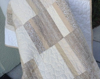 "Cream & Beige Quilt - 53"" x 75"" - Contemporary/Modern Quilt  - Ready to Ship"