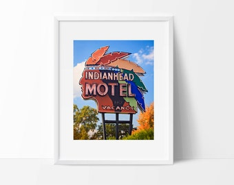 Indianhead Motel Sign Photo | Mid Century Modern Art | Neon Sign Print | Mid Century Modern Decor | Guestroom Art | Guestroom Decor