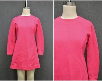 1970s Pink Textured Mini Dress
