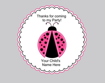 Set of 16 Personalized Birthday Favor Tags, Birthday Gift Bags and Tags, Pink Ladybug Tags and Bags