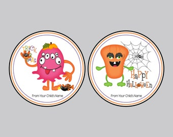 Set of 8 Halloween Tags, Personalized Tags, Party Favor Tags, Trick or Treat Tags, Bag Tags,